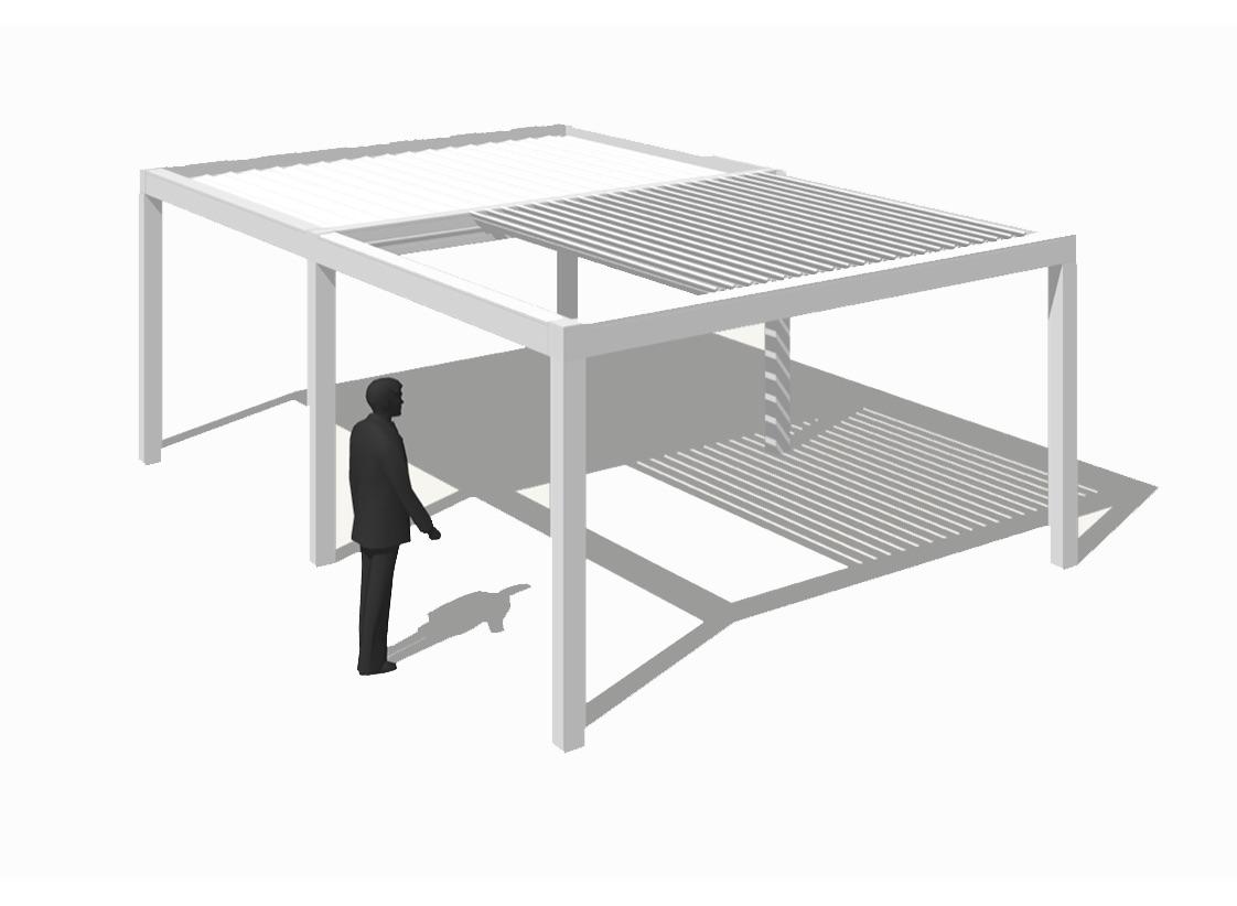 Pergola bioclimatique autoportante avec 2 modules