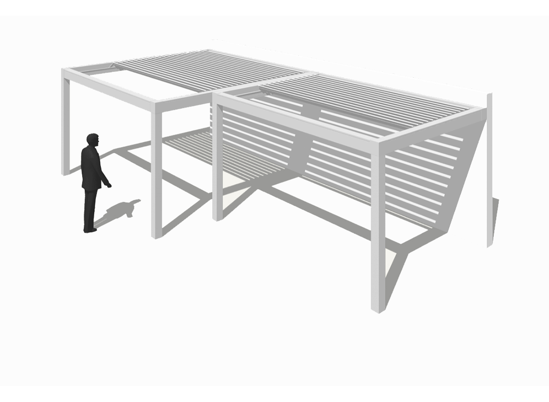 Pergola bioclimatique avec 2 modules de profondeur différente