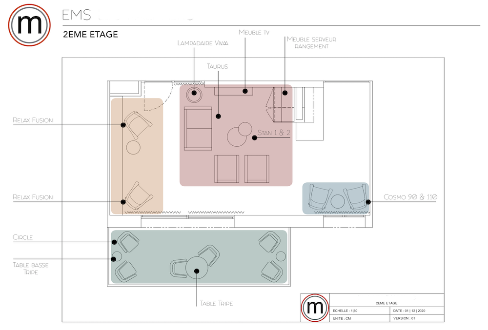 Plan aménagement salon EMS