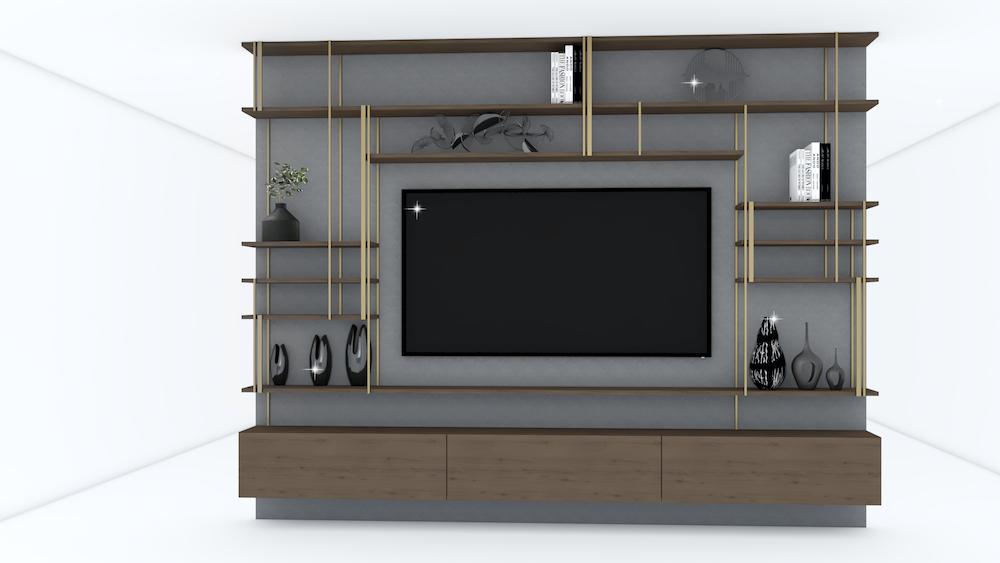 meuble salon sur mesure bois:métal